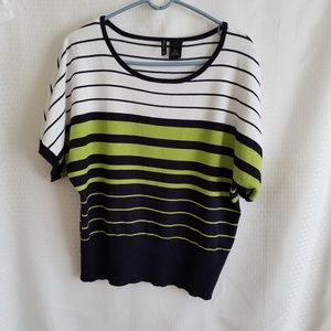New Direction Black, Green & White Sweater Blouse